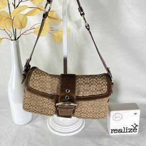 Coach Classic Brown Jacquard Shoulder Bag 1463